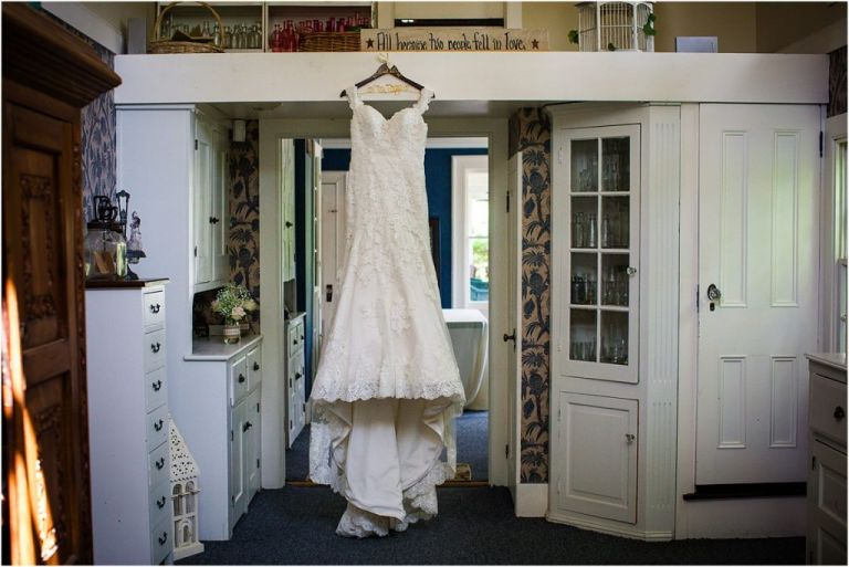 Wedding Dress hanging at Abbie Holmes Estate Venue