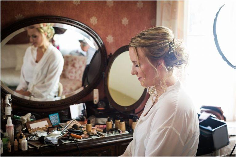 Bride getting ready at Abbie Holmes Estate Wedding Venue