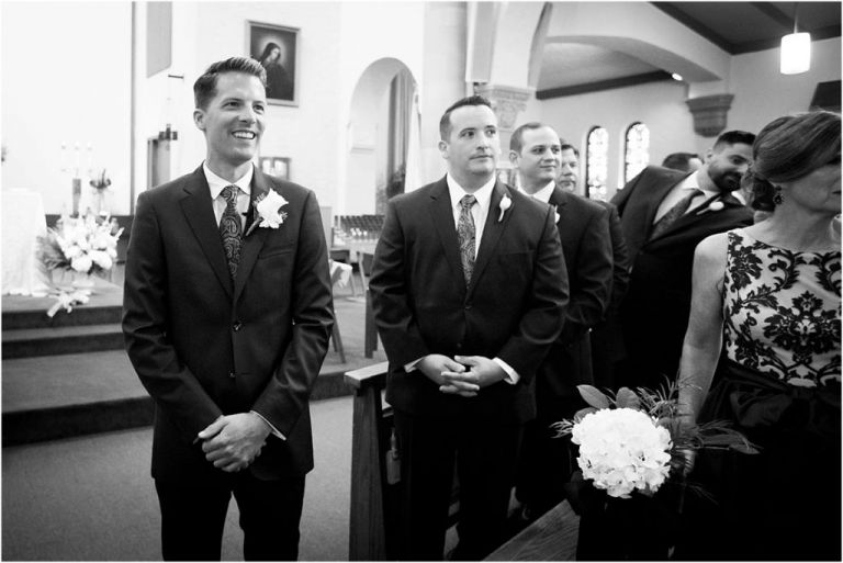 NJ wedding Photographer captures groom seeing bride for the first time
