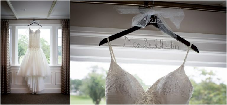 Tesi Bridal Wedding Dress hanging at Atlantic City Country Club