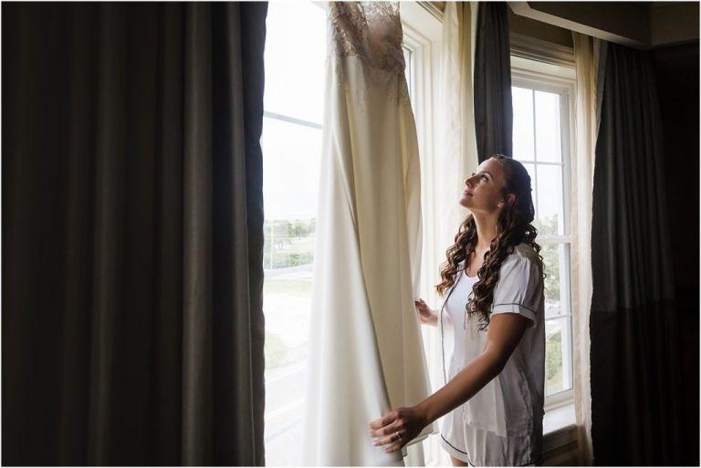 Stockton Seaview Wedding Photographer Bridal Prep wedding dress