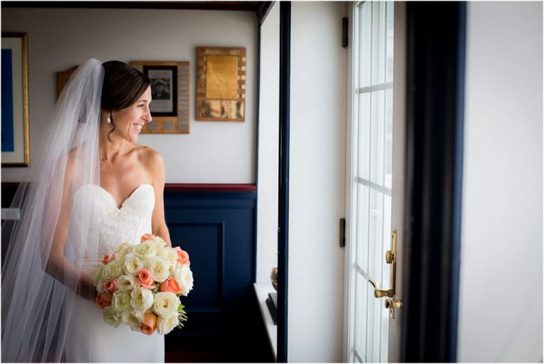 Ocean City Yacht Club Wedding Photographer captures bride portrait