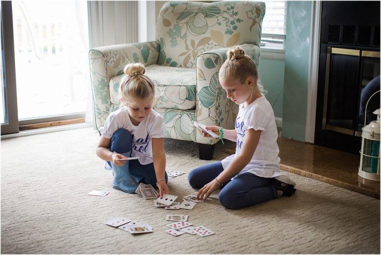 NJ flowers girls play cards