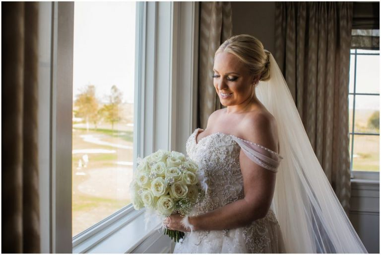 Portrait of bride at ac country club wedding