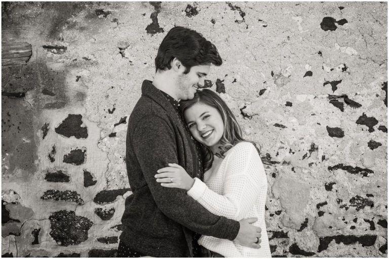 Batsto Village black and white engagement photo